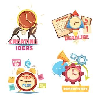 Retro-cartoon-kompositionen für das zeitmanagement mit der erstellung von ideen und effektiver terminplanung