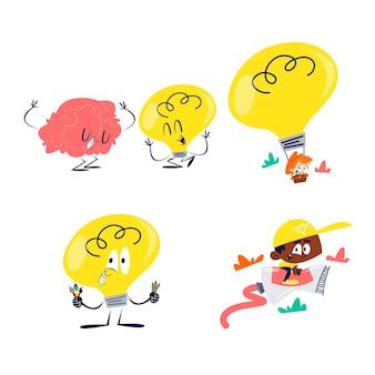 Retro cartoon kreativität aufkleber sammlung