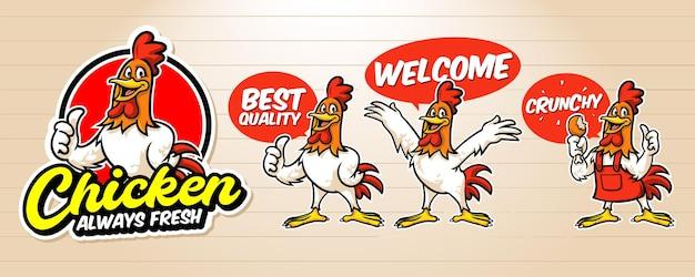 Retro-cartoon-logo für brathähnchen mit hahn Premium Vektoren