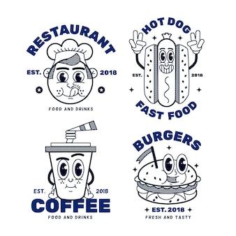 Retro cartoon restaurant logo sammlung