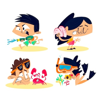 Retro cartoon sommer aufkleber set
