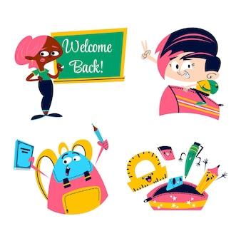 Retro-cartoon zurück zu schule-aufkleber-set