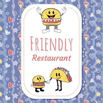 Retro- charakterhintergrund des restaurants mit nahtlosem muster