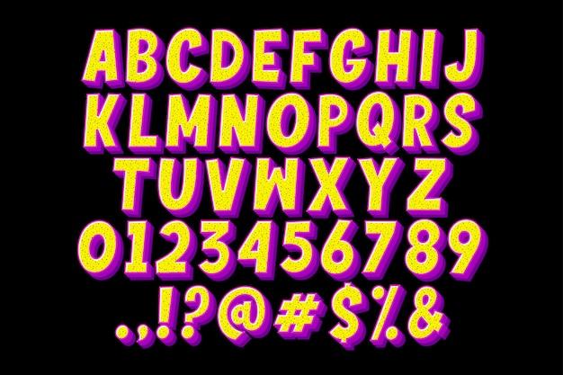 Retro-comic-alphabet mit charmanter farbe