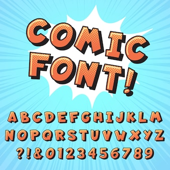 Retro-comic-schriftart. superhelden-comic-briefe, vintage-comic-helden-schriften und pop-art-comic-alphabet-illustration