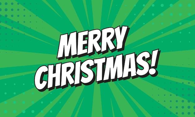 Retro comic-sprechblase mit buntem halbtonschatten auf grünem streifenmuster. ausdruckstext frohe weihnachten. vektor-illustration, vintage-design, pop-art-stil