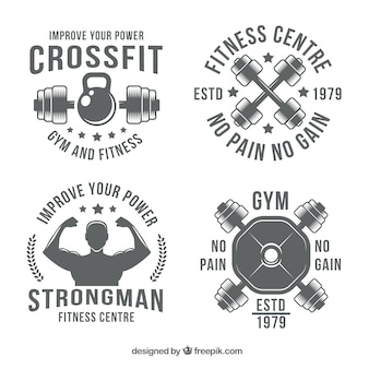 Retro crossfit aufkleber pack
