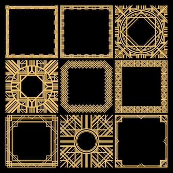 Retro dekorative leere rahmenkollektion mit klassischen eleganten geometrischen maßwerken im weinlesestil lokalisiert