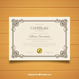 Retro- dekoratives zertifikatschablonendesign