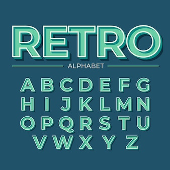 Retro- design 3d für alphabet