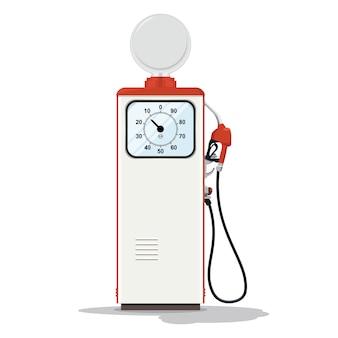 Retro-design der benzinpumpe. retro kraftstoffspender auf weißem hintergrund. tankstelle mit zapfsäule.