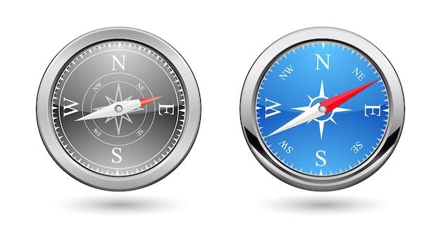 Retro-design des klassischen kompass-3d-symbols