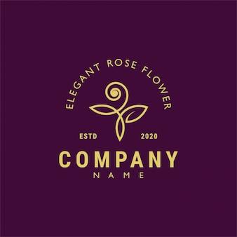 Retro-design des schönen rosenblumenlogo-weinlese-retro