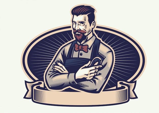 Retro-design-friseur, der die haarschneidemaschine hält