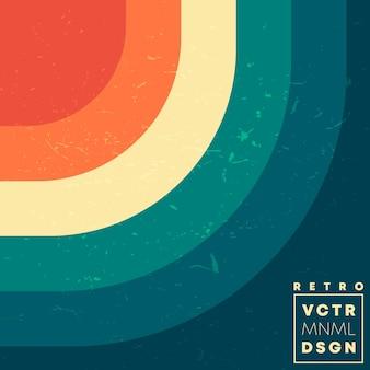 Retro-design-hintergrund mit vintage-grunge-textur und farbigen linien. vektor-illustration.