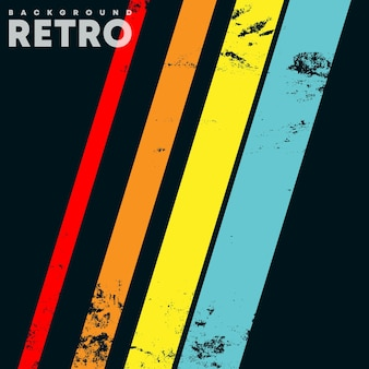 Retro-design-hintergrund mit vintage grunge-textur und farbigen streifen. vektor-illustration