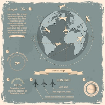 Retro-design mit flugzeugen und globe