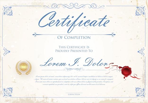 Retro- designschablone des zertifikats oder des diploms