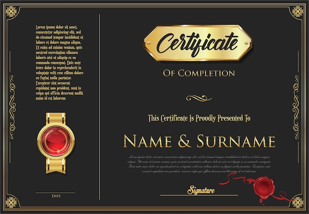 Retro-designvorlage für zertifikat oder diplom