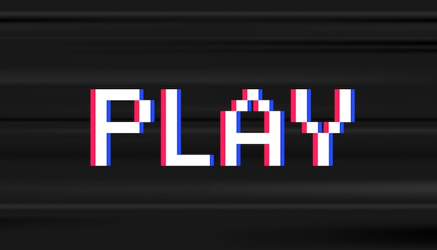 Retro digitaler typ. computervideospiel-stelenwort spielen