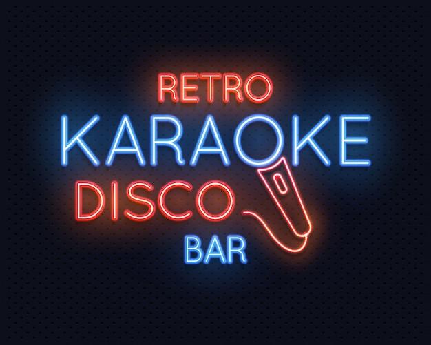 Retro disco-karaoke-bar-neonlicht-zeichen