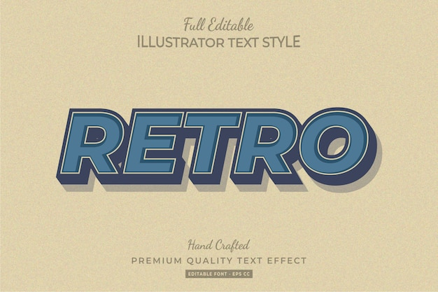 Retro editable text style effect premium