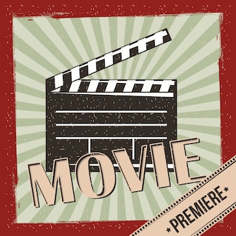 Retro- einladungsplakat der filmfilmpremiere stripes hintergrund