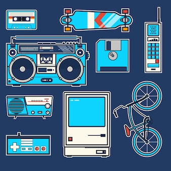Retro- elemente fahrrad, telefon, computer, diskette, skateboard, steuerknüppel, boombox, kassette, radio weinlesevektorgraphikplakat. linie vektor-illustration