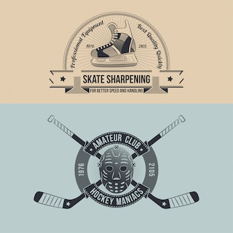 Retro-emblem des hockeyclubs