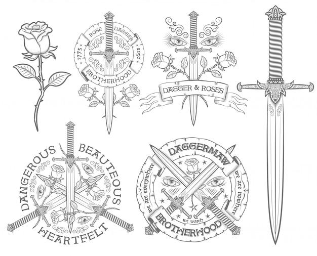 Retro emblem mit einem dolch und einer rose.