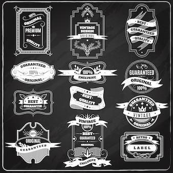 Retro-embleme kreide tafel gesetzt