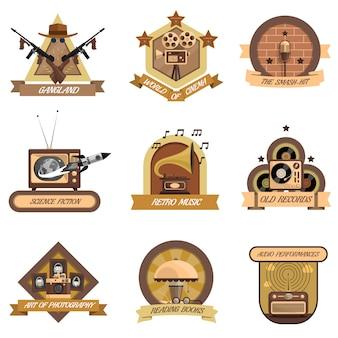 Retro embleme set