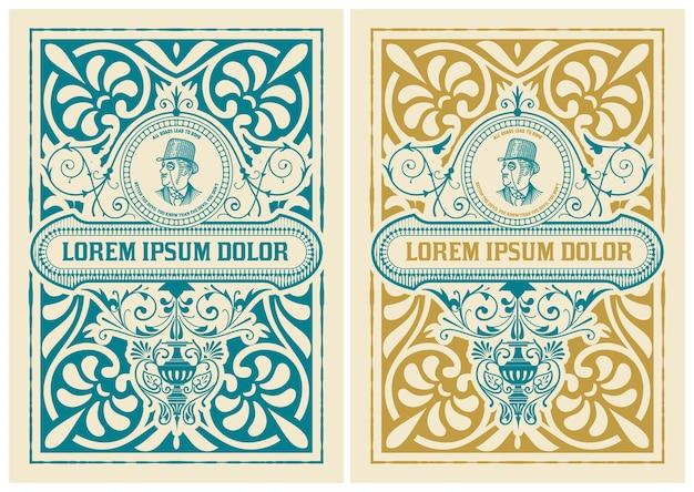 Retro-etikettendesign mit gentleman- und blumendetails. organisiert nach schichten.