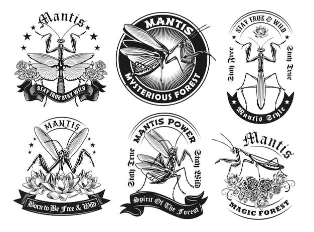Retro-etikettendesigns mit mantis-set
