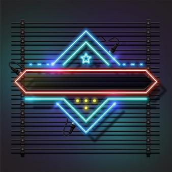 Retro- fahnenhintergrunddesign mit neonrahmen