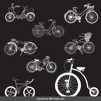 Retro fahrräder eingestellt