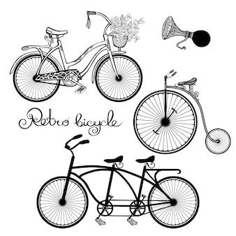 Retro fahrräder gesetzt