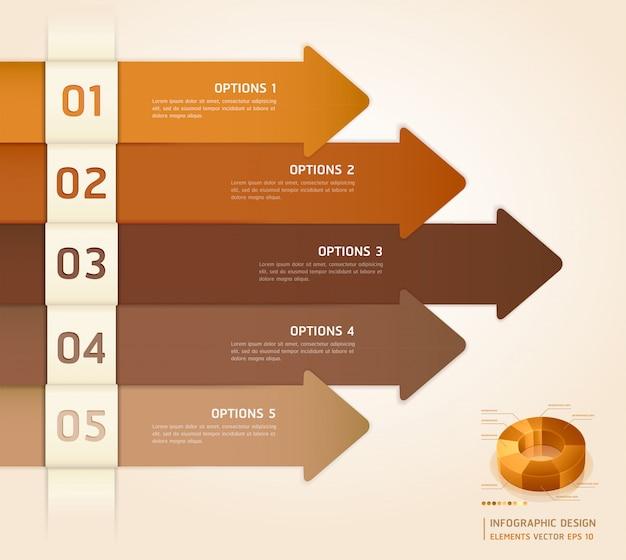 Retro farbe infografiken anzahl optionen banner & card