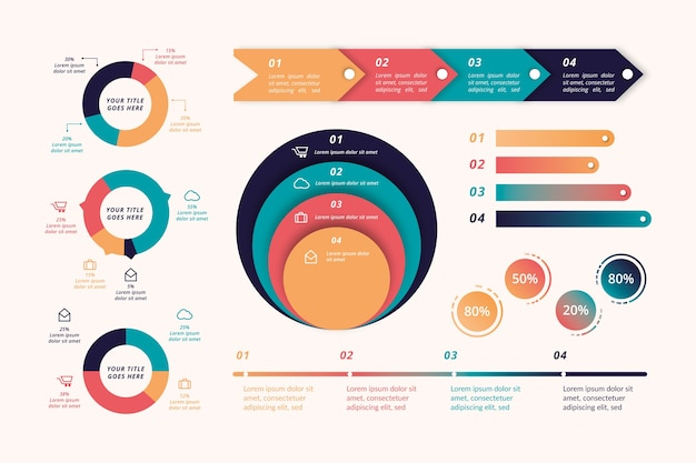Retro farbige flache infografik