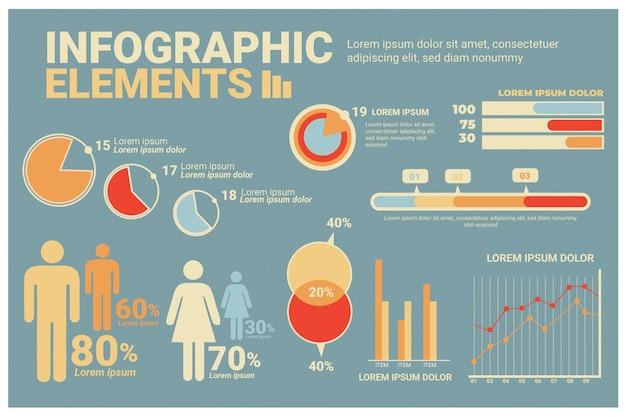 Retro farbige infographik vorlage