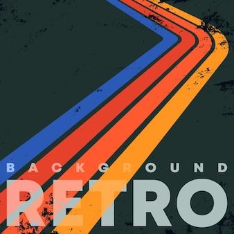 Retro-farbstreifen-hintergrund mit vintage-grunge-textur. vektor-illustration.