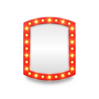 Retro-festzelt mit leerem rahmen und pfeil-kino- und theater-eitelkeitssymbolen für lampenspiegelkino-künstler-make-up-raum