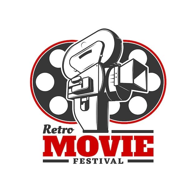 Retro-filmfestival-symbol. vektor alte kamera mit kinofilmrollen. filmindustrie-event, preisverleihung des filmfestivals und filmvorführungen von kinoautoren, symbol oder emblem