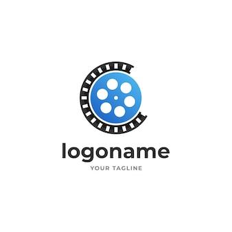 Retro-filmstreifen-logo für filmproduktion und kino