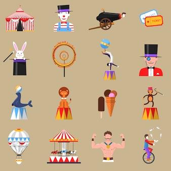 Retro flache ikonen des zirkusses druck eingestellt