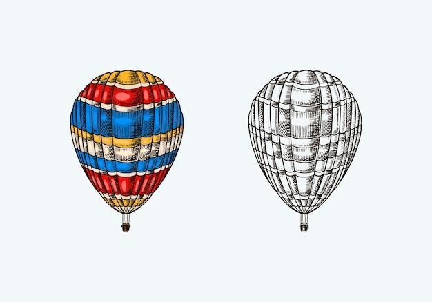 Retro-fliegendes luftschiff des weinleseheißluftballons mit dekorativer elementschablone