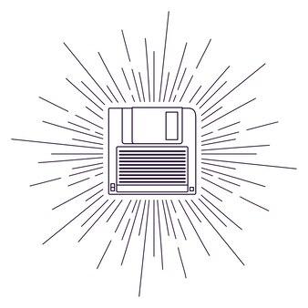 Retro-floppy-poster auf sunburst hintergrund