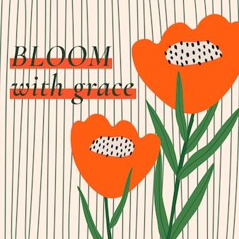 Retro floral gemusterte vorlage vektor zitat für social media post