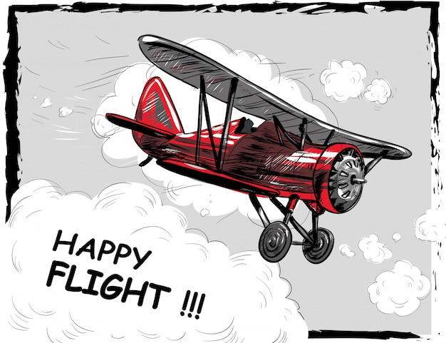 Retro flugzeug fliegen in wolken