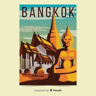 Retro- förderndes plakat der bangkok-schablone